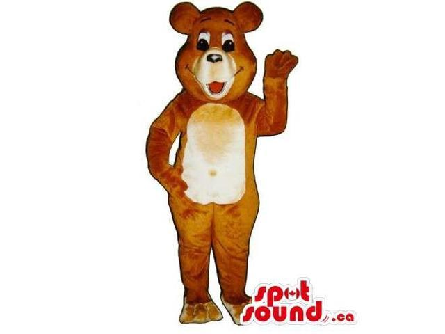 Customised Brown Teddy Bear Canadian SpotSound Mascot With Beige Belly