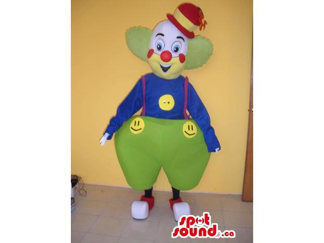Colourful Clown Canadian SpotSound Mascot Dressed In Large Pants And Smiley Faces
