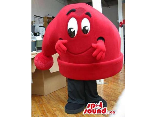 Large Red Sleeping Hat Plush Canadian SpotSound Mascot With A Cute Face
