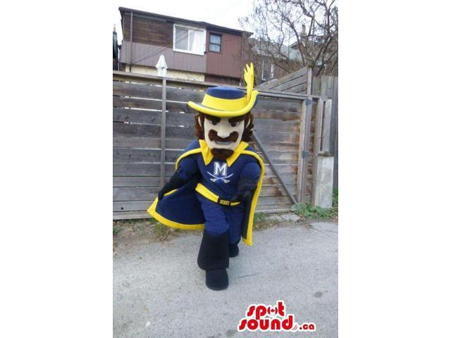 Musketeer Character Canadian SpotSound Mascot In Blue And Yellow With Logo