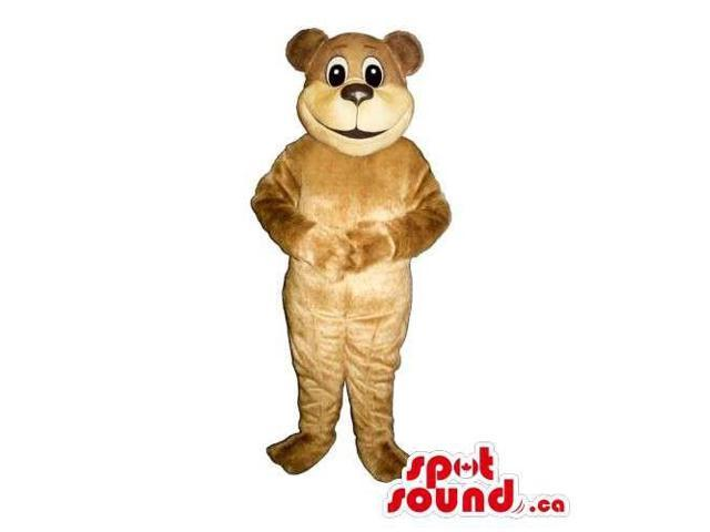 Customised Light Brown Teddy Bear Canadian SpotSound Mascot With Round Face