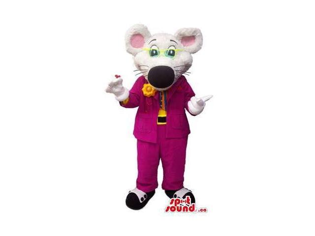 Customised White Mouse Canadian SpotSound Mascot Dressed In A Maroon Suit