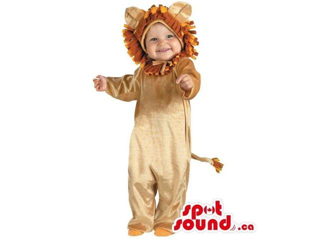 Cute Halloween Beige Lion Toddler Child Size Costume Disguise