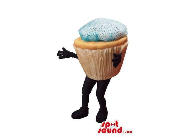 Large Muffin Food Canadian SpotSound Mascot With Blue Frosting And No Face