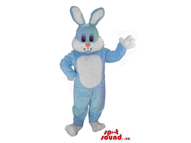 Grey And White Easter Bunny Animal Canadian SpotSound Mascot With Pink Nose