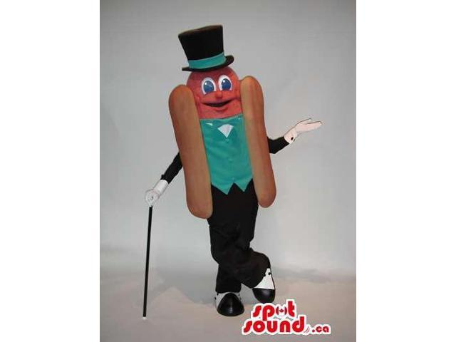 Elegant Hot-Dog Canadian SpotSound Mascot Dressed In A Vest And A Top Hat