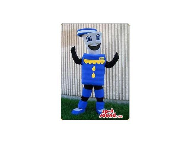 Customised Blue And Yellow Canadian SpotSound Mascot With A Peculiar Face