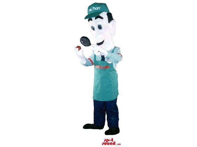Customised Human Canadian SpotSound Mascot Dressed In A Green Apron And Cap