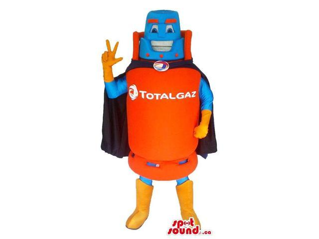 Flashy Gas Bottle Canadian SpotSound Mascot With A Logo Dressed In A Super Hero Cape