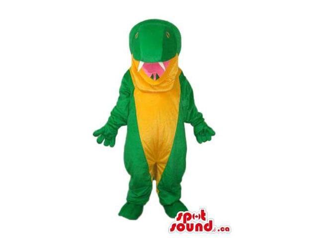 Cute Green Alligator Animal Canadian SpotSound Mascot With A Yellow Belly