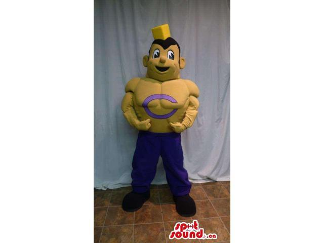 Customised Yellow Strong Human Boy Canadian SpotSound Mascot With A Letter