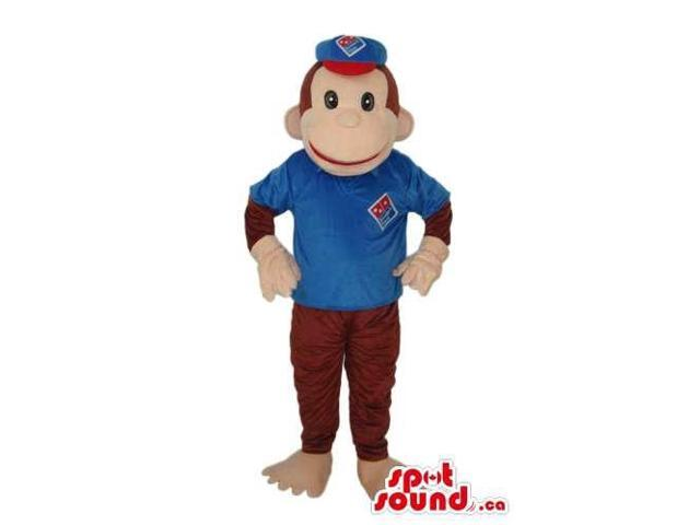 Brown Monkey Animal Plush Canadian SpotSound Mascot With Blue And Red Clothes