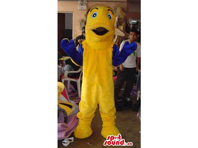 Customised Yellow And Blue Fish Canadian SpotSound Mascot With Blue Eyes