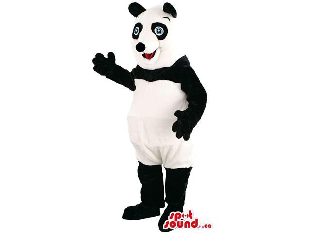 Black And White Panda Bear Forest Canadian SpotSound Mascot With Blue Eyes