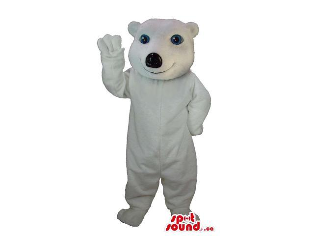 All White Customised Polar Bear Forest Canadian SpotSound Mascot With Blue Eyes