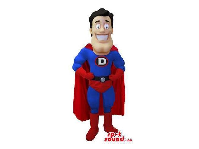 Super Hero Human Canadian SpotSound Mascot With Red And Blue Clothes And Cape