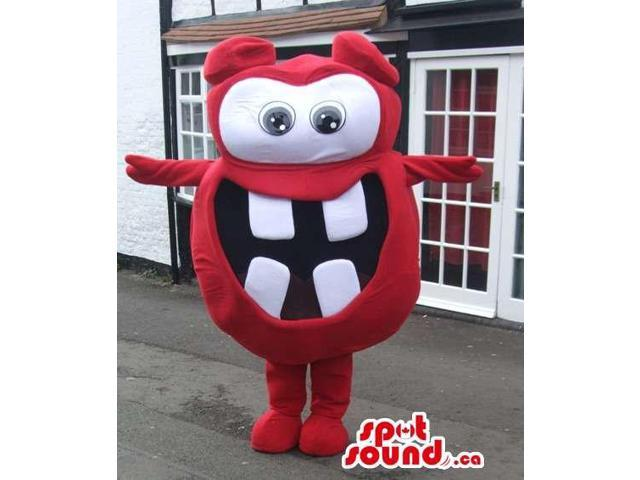 Red And White Comical Canadian SpotSound Mascot With Huge Teeth And Eyes
