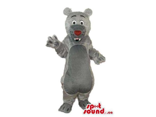 Cute All Grey Bear Plush Canadian SpotSound Mascot With A Red Nose And Teeth