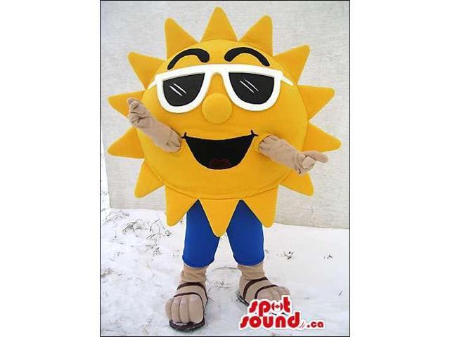 Yellow Bright Sun Plush Canadian SpotSound Mascot Dressed In White Sunglasses