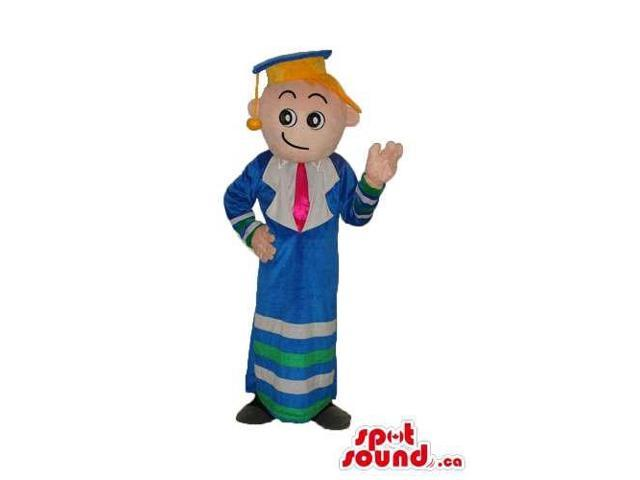 Blond Boy Plush Canadian SpotSound Mascot Dressed In Graduation Blue Clothes