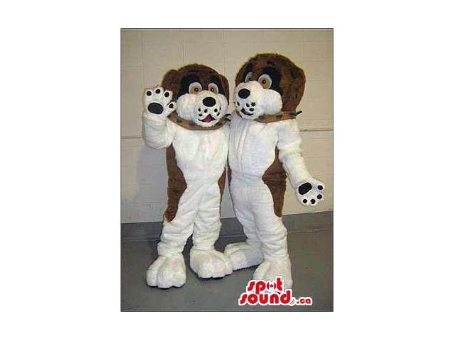 White And Brown Plush Dog Canadian SpotSound Mascots In Sizes