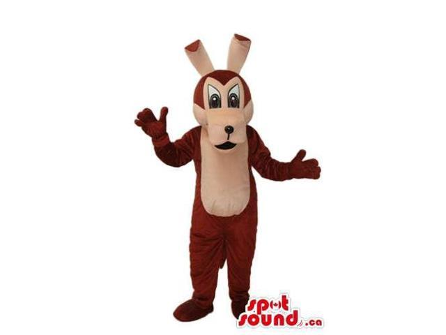 Cute Brown And Beige Cartoon Wolf Plush Canadian SpotSound Mascot With Along Ears
