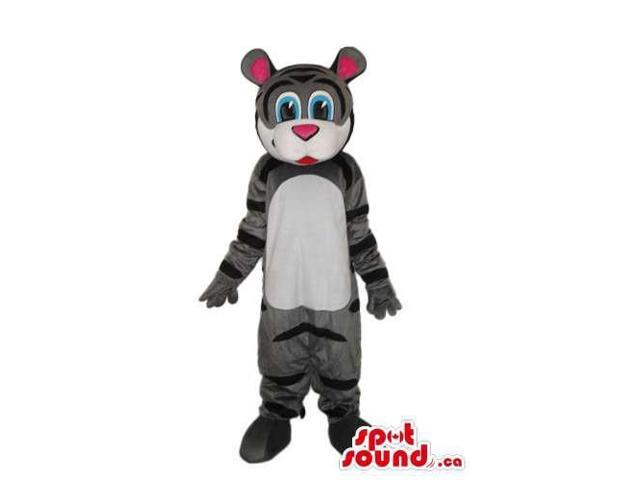 Cute Grey And White Cartoon Tiger Plush Canadian SpotSound Mascot With Pink Ears