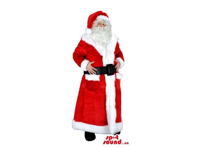 Santa Claus Christmas Character Canadian SpotSound Mascot With Long Dress