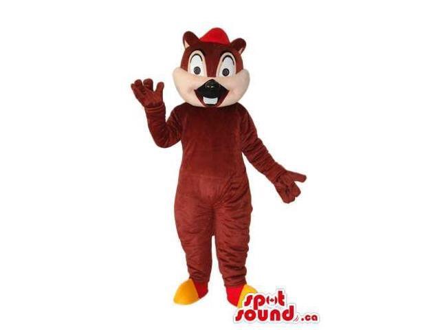 Cartoon Cute Brown Chipmunk Plush Canadian SpotSound Mascot With Red Cap