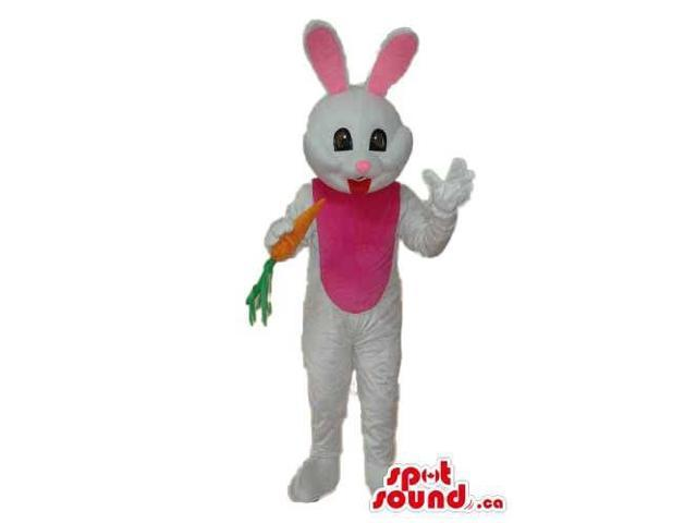 White Bunny Plush Canadian SpotSound Mascot With A Pink Belly And Small Carrot