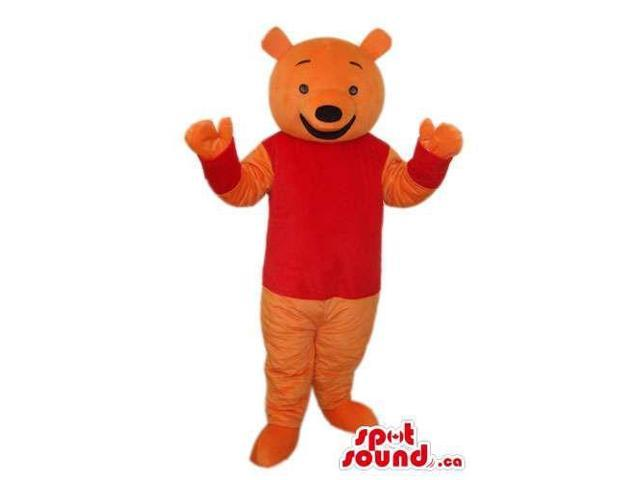 Orange Bear Plush Animal Canadian SpotSound Mascot Dressed In A Red T-Shirt