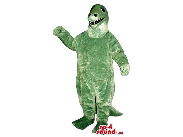 Green Dinosaur Plush Canadian SpotSound Mascot With Small Sharp Teeth