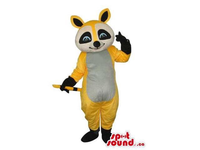 Cartoon Cute Yellow Chipmunk Plush Canadian SpotSound Mascot With Grey Belly