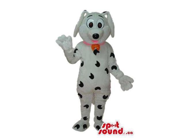 Cartoon Dalmatian Dog Plush Canadian SpotSound Mascot With A Red Collar