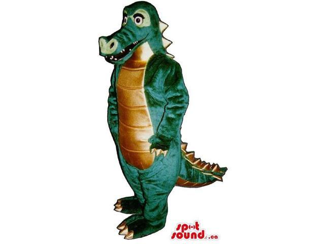 Green Alligator Animal Canadian SpotSound Mascot With A Bronze Shinny Belly