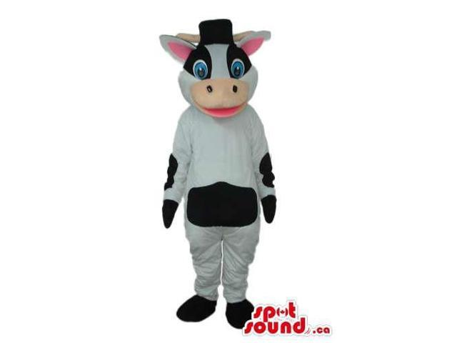 Cute Cow Plush Canadian SpotSound Mascot With White Blue Eyes And Pink Ears