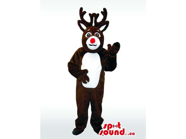 Dark Brown Reindeer Animal Plush Canadian SpotSound Mascot With White Belly