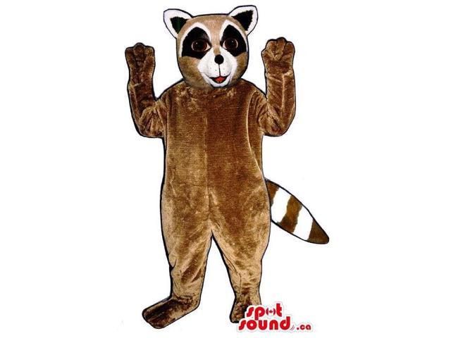 Customised Brown Raccoon Animal Canadian SpotSound Mascot With Black Eyes