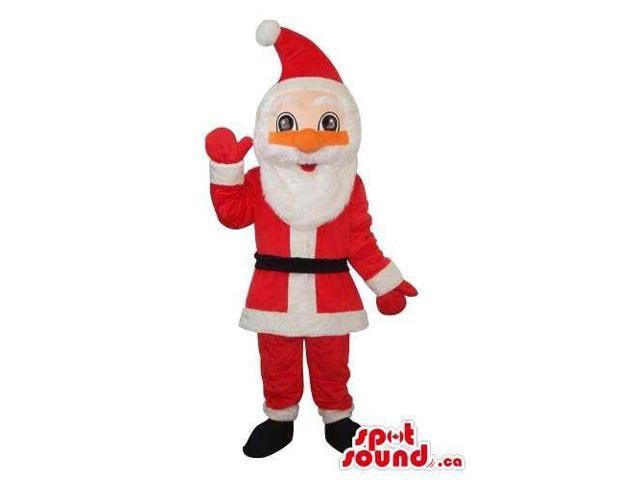 Cartoon Santa Claus Plush Canadian SpotSound Mascot With An Orange Nose