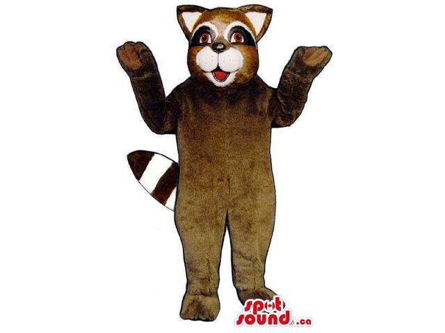 Customised Brown Raccoon Animal Canadian SpotSound Mascot With A White Mouth