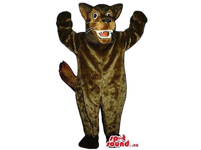 Furious Brown Wolf Animal Plush Canadian SpotSound Mascot With Sharp Teeth