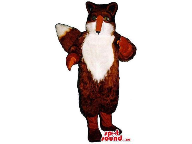 Brown Fox Animal Canadian SpotSound Mascot With Woolly White Front Body