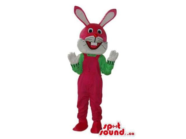 Red And White Rabbit Plush Canadian SpotSound Mascot Dressed In Red Overalls