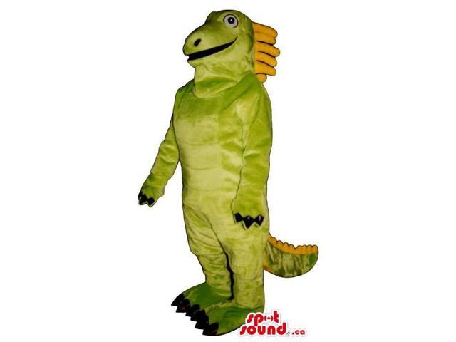 Customised Green And Yellow Dinosaur Plush Canadian SpotSound Mascot