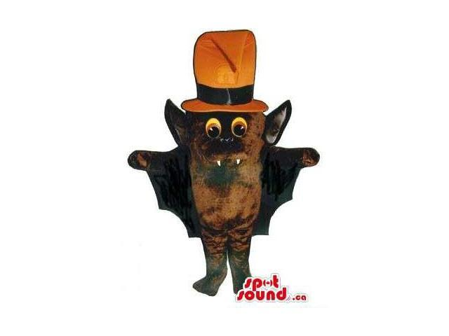 Cute Brown Bat Halloween Plush Canadian SpotSound Mascot Dressed In An Orange Hat