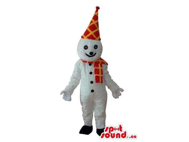 Snowman Canadian SpotSound Mascot With A Long Red And Yellow Hat And Scarf