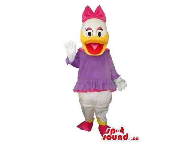 Daisy Duck Disney Character Canadian SpotSound Mascot In A Purple Dress