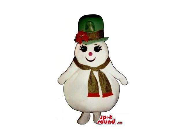 Cute Girl Snowman Plush Canadian SpotSound Mascot Dressed In A Green Hat And A Scarf