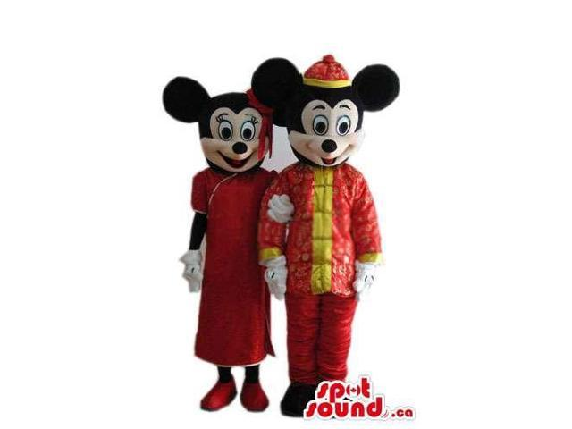 Mickey And Minnie Mouse Disney Characters With Chinese Gear