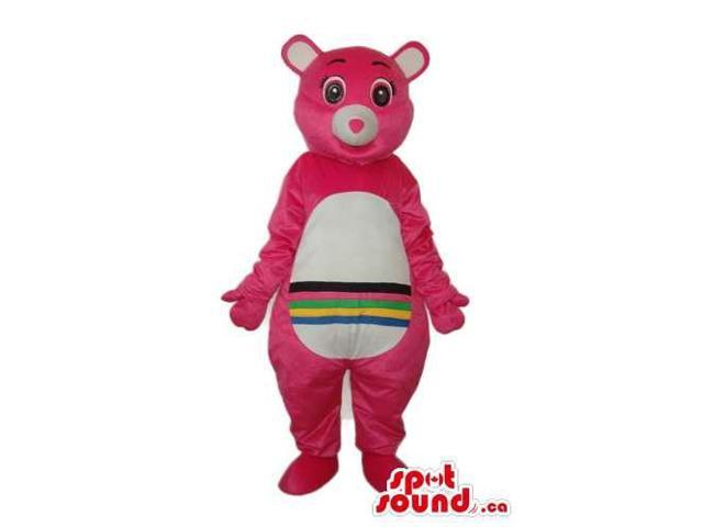 Pink Care Bear Cartoon Canadian SpotSound Mascot With A Rainbow On Its Belly